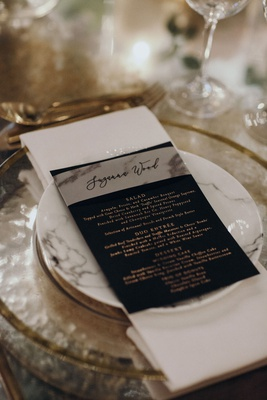 Suzanna Villarreal and Alex Wood LA Dodgers wedding reception marble plate and menu card calligraphy