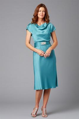 Siri Spring 2016 mother of the bride dress Faye short sleeve blue cowl neck Faye dress