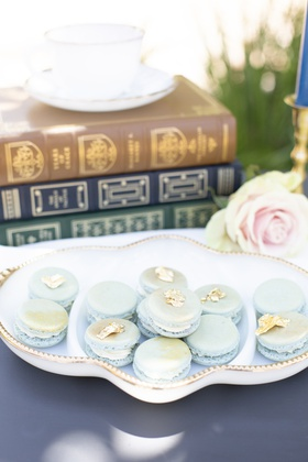 pale blue macarons with gold accents wedding dessert table inspiration