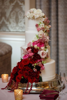 wedding reception cake ideas white fondant design ombre cake burgundy to pink to white fresh flowers