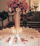 White place cards and pink flowers