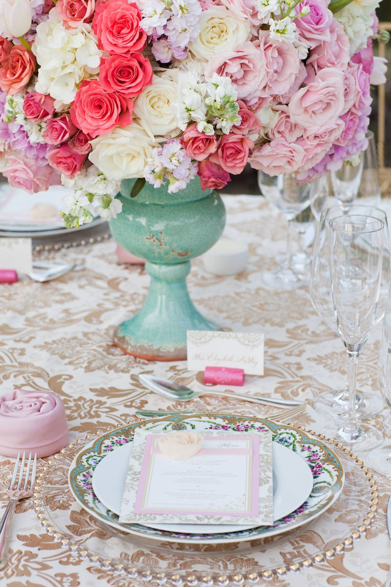 Vineyard wedding table with white gold damask tablecloth gold beaded charger floral china & Reception Décor Photos - Sophisticated Place Setting - Inside Weddings