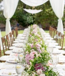 Bridal shower long table runner with green vines, pink roses, pink hydrangea, and parasols overhead