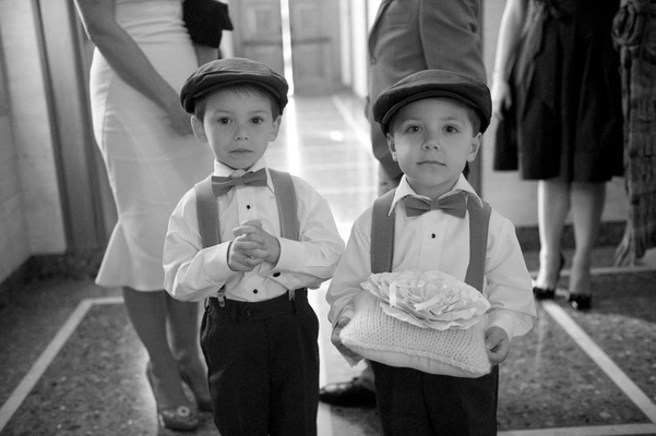 Black and white photo of young boys in hats