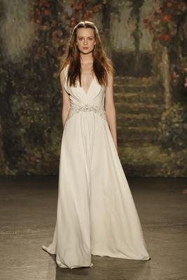"draped ""imogen"" dress with jeweled belt by jenny packham"