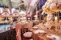New Jersey ballroom wedding Megan Wollover Tracy Morgan gold sequin linens, white pink centerpiece