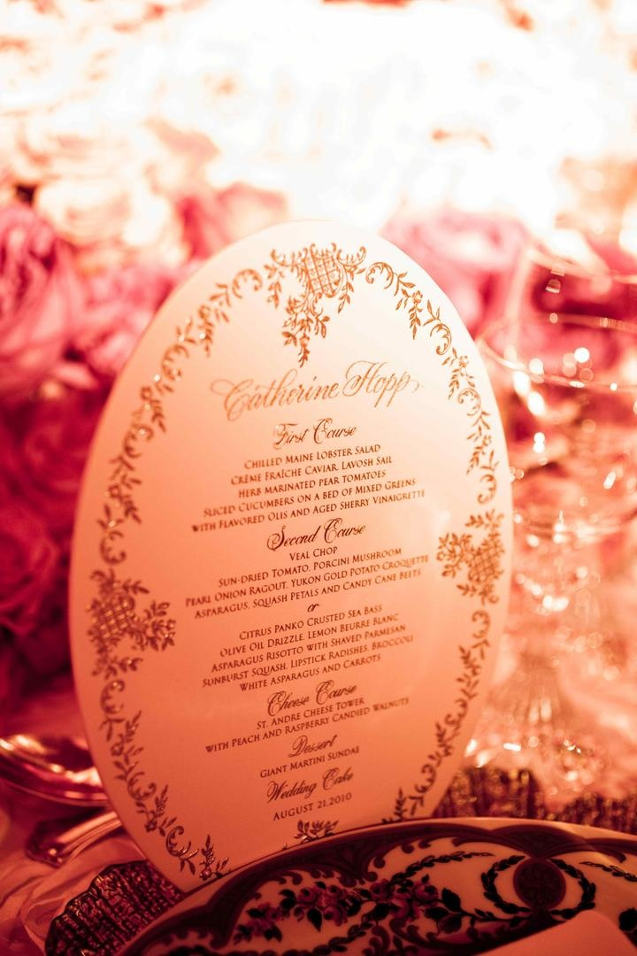 Oval shape wedding dinner menu card with gold print
