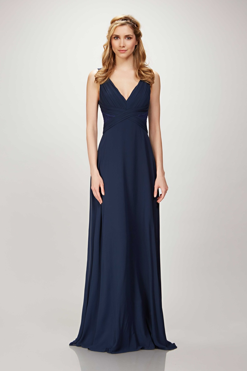 Graceful bridesmaids dresses from theia bridesmaids spring 2017 theia bridesmaids spring 2017 clary long v neck bridesmaid dress ruche bodice chiffon midnight navy ombrellifo Images