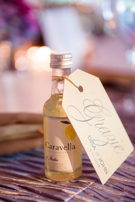 mini bottles of limoncello for wedding favors
