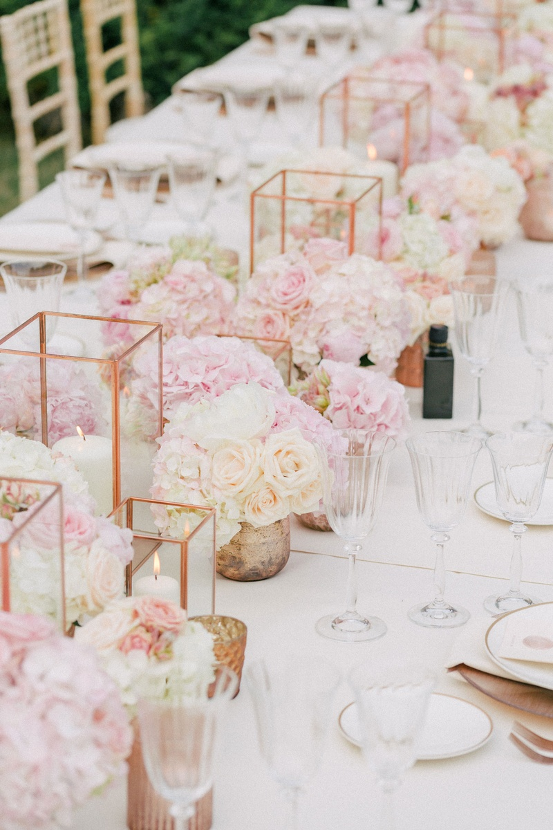 Reception Décor Photos - Copper Candle Holders & Pink Flowers ...