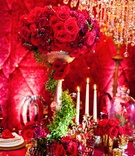 tall red rose centerpiece inspired by disney's belle from beauty in the beast