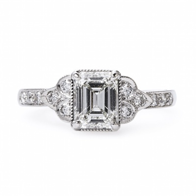 Claire Pettibone x Trumpet & Horn Celine emerald cut diamond engagement ring