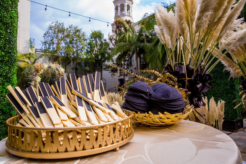 fans offered for outdoor summer wedding, yarmulkes for jewish wedding