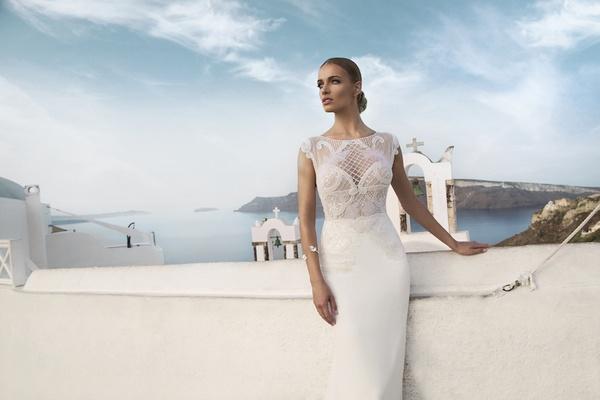 column wedding dress high neckline