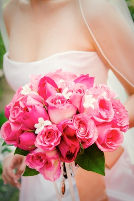 Pretty pink chocolate brown wedding at the beverly hills hotel flower bouquet of hot pink roses mightylinksfo