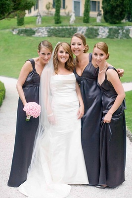 Slate grey bridesmaid dresses and white bridal gown
