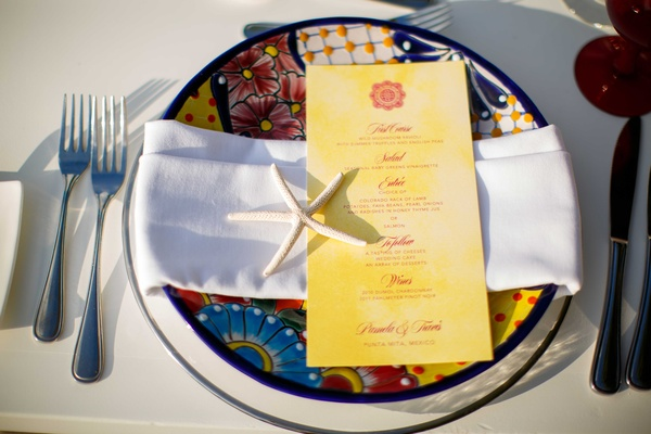 colorful charger plate red and yellow menu starfish punta mita mexico wedding styled shoot tropical