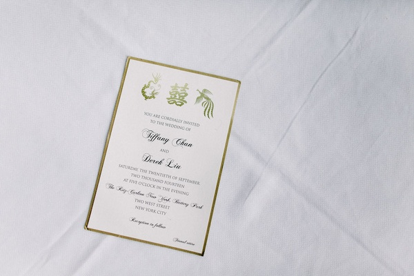 Chinese wedding invitation with gold border and Chinese letters