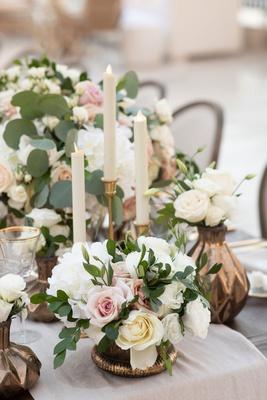 wedding vase dark metallic gold candleholder eucalyptus greenery white pink rose flowers low