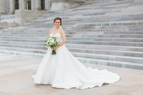 bride in justin alexander plain ball gown, sweetheart neckline