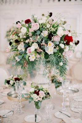 wedding reception centerpiece pink white burgundy red flowers gold accents kike hernandez wedding