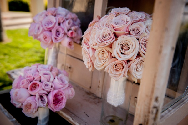 Pink peonies and blush roses wrapped in silk