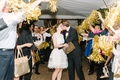 couples grand exit golden pom-poms gifts favors wedding southern after party dress cute kiss