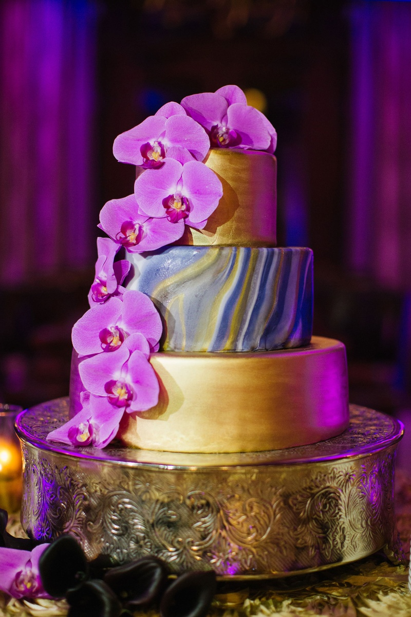 Cakes & Desserts Photos - Purple & Gold Wedding Cake - Inside Weddings