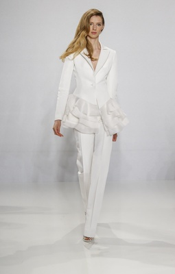 Christian Siriano for Kleinfeld Bridal tailored pant suit wedding dress alternative with ruffle hem