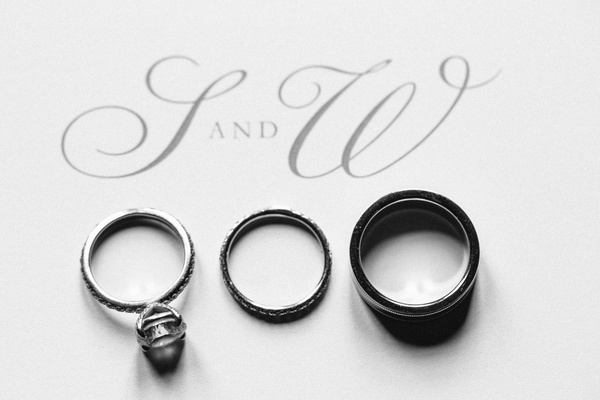 Black and white photo of bands and initials