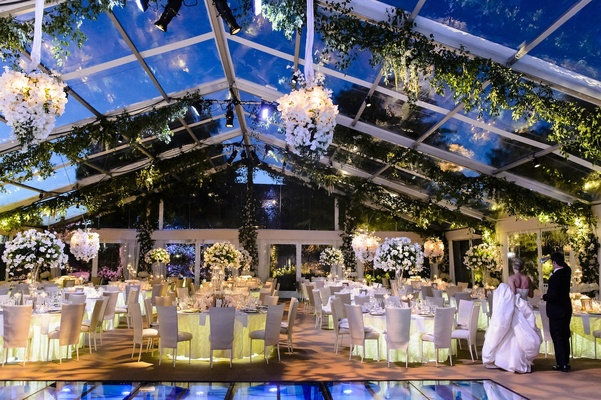 Impressive colorado wedding over an olympic sized pool inside bride and groom seeing plexiglas reception venue for first time junglespirit Image collections
