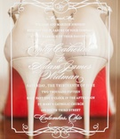 clear transparent acrylic wedding invitations with christian louboutin heels