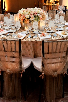 Sheer fabric with sequins covering wedding reception chairs