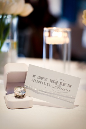 Cocktail ring and how-to card for guests