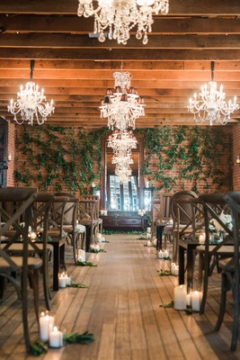 ... Ceremony Space Wood Floor Candles Vineyard Chairs For Guests Greenery  On Wall Chandeliers On Ceiling ...