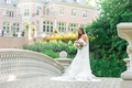 bride in vera wang lindsey dress and vera wang veil, bridal gown with ruffled skirt