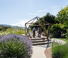 iko space used as chuppah altar for wedding geometric terrarium similar look outdoor ceremony