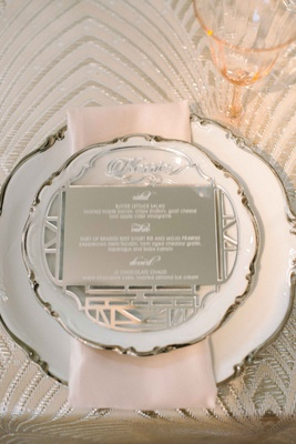 engraved mirror to act as wedding dinner menu