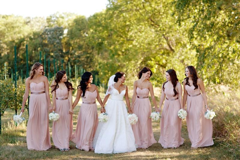 Brides Bridesmaids Photos Long Bridesmaid Dresses With Rose