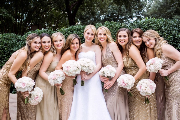 bride bridesmaids metallic gowns dallas wedding classic trendy sparkly bouquets