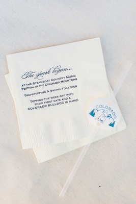 Wedding reception napkin custom design with story of how couple started dating in colorado