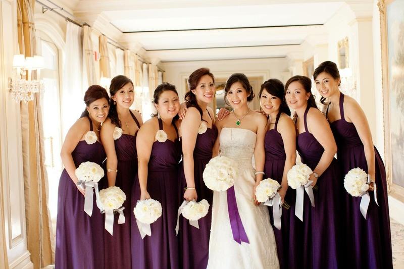9d4bf639719 Brides + Bridesmaids Photos - Purple Bridesmaid Dresses + Bouquet ...