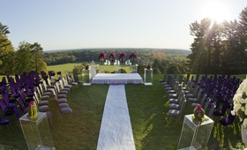New Jersey countryside wedding ceremony on lawn