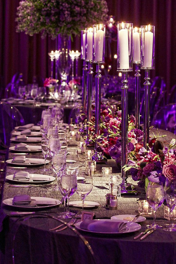 Reception Décor Photos - Purple Wedding Centerpieces - Inside Weddings
