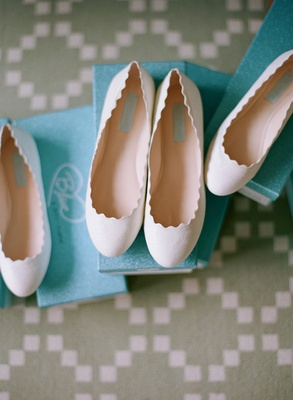 White nude wedding day bridesmaid flats