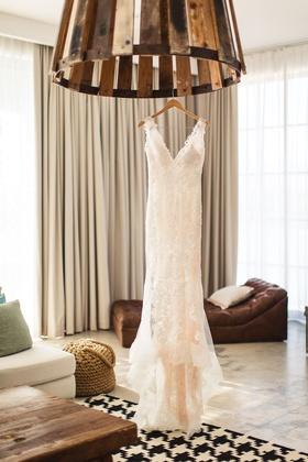 yolancris lace wedding dress with blush lining