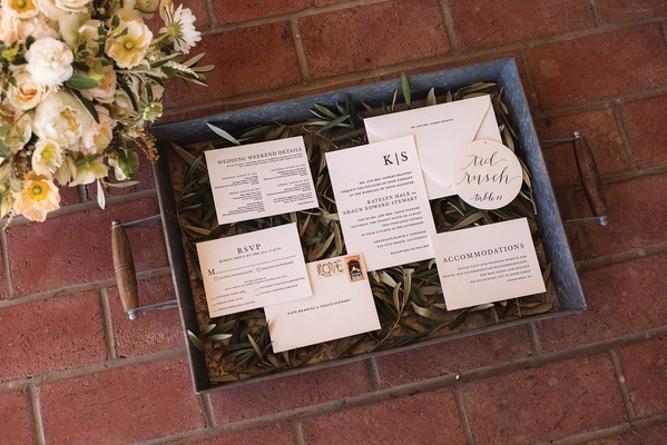 RSVP card, wedding invitation, wedding weekend itinerary, Laura Hooper calligraphy on bed of greens