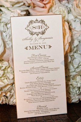 Wedding menu card with script font calligraphy monogram gold border rim first course second entree