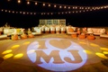 "wedding reception custom dance floor lighting with ""I heart MJ"" for couple's initials"