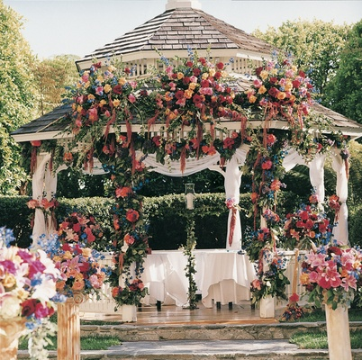 Flowers decorate ceremony gazebo